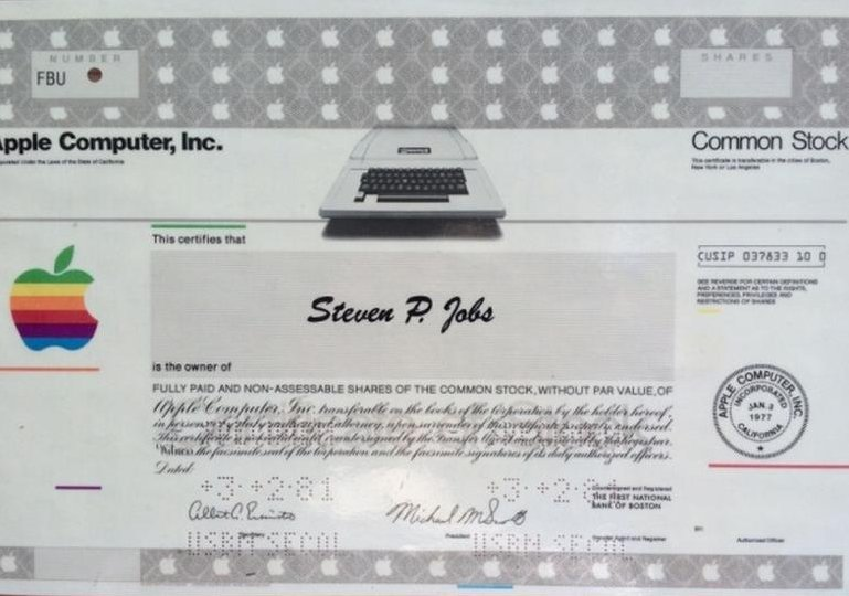 Steve Jobs Apple Share Certificate
