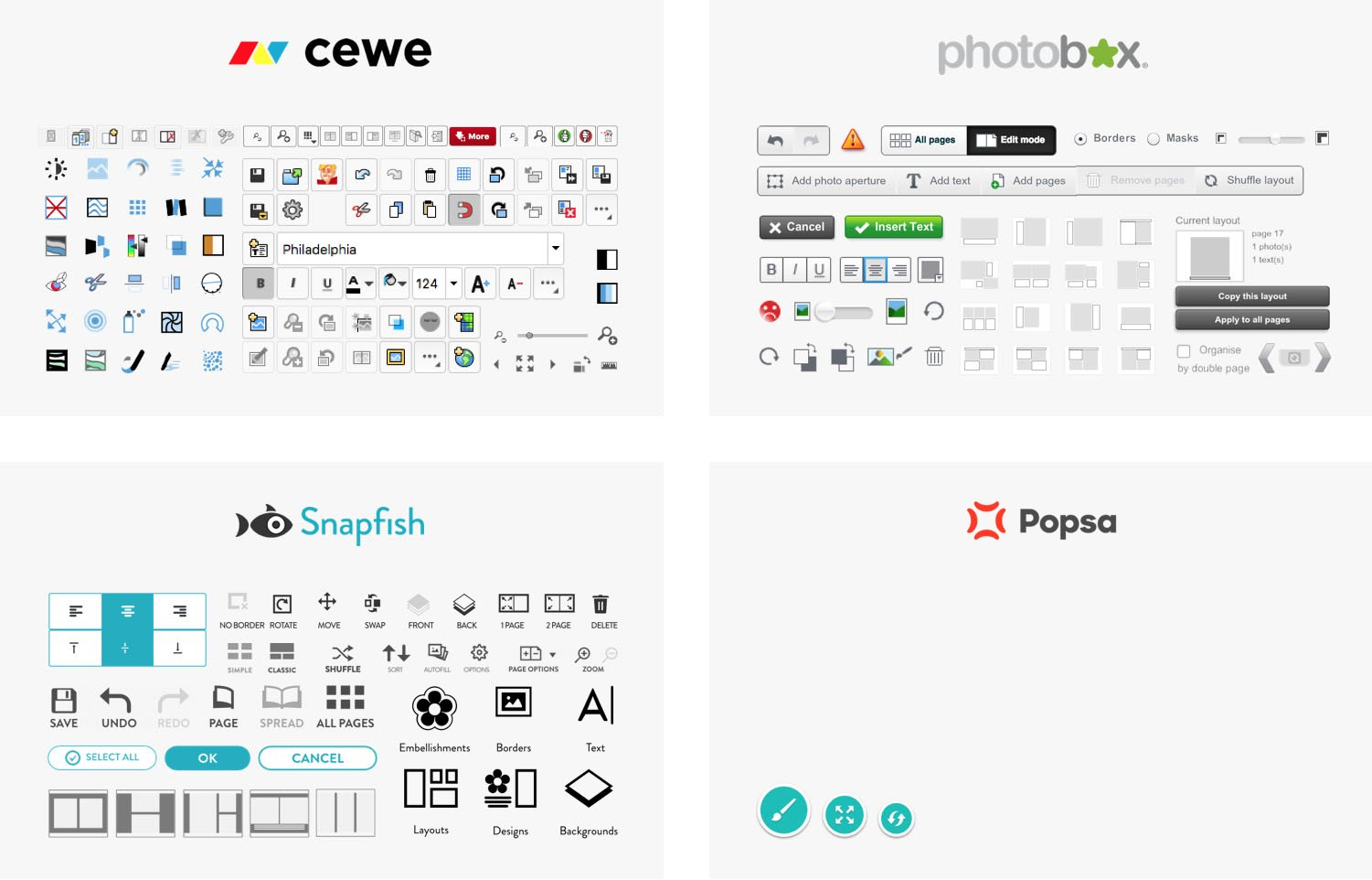 Comparing the user interfaces of Cewe, Photobox, Snapfish and Popsa